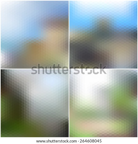 Vector set of nature blurred hexagonal unfocused backgrounds. - stock vector