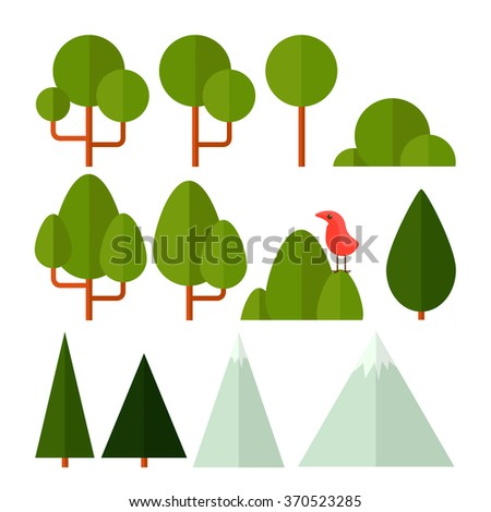Vector set of nature icons in a flat style. Trees, shrubs, grass, flowers, reeds and the mountains for your design - stock vector