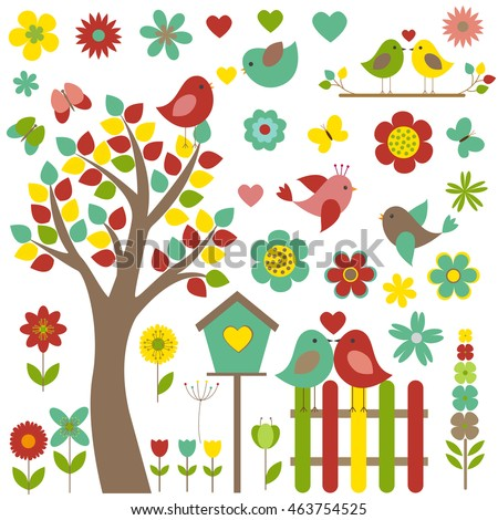 Vector set of nature-themed. Different birds sitting on a tree, surrounded by flowers and butterflies.