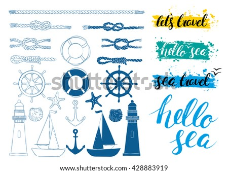 Vector set of nautical elements. Blue vector marine background. Hello sea. Brush handwriting lettering. Vector illustration. Calligraphy. Hand Drawn rough edge. Inscription ink Hello sea.
