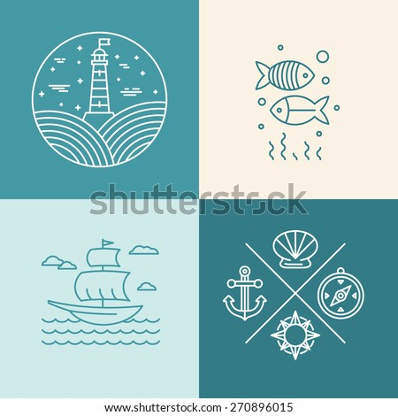 Vector set of nautical icons and logo design elements in trendy linear style  - stock vector