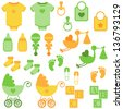 Vector Set of Neutral Colored Baby Items and Symbols - stock vector