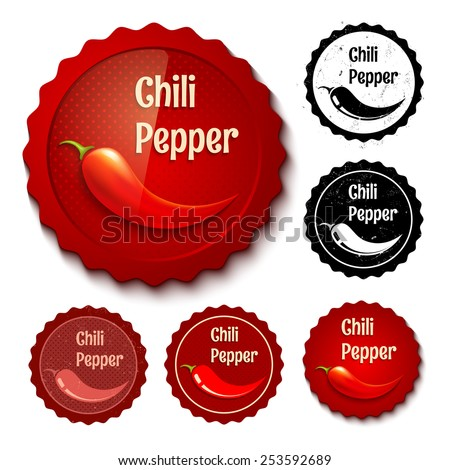 Vector set of new and retro chili stamps