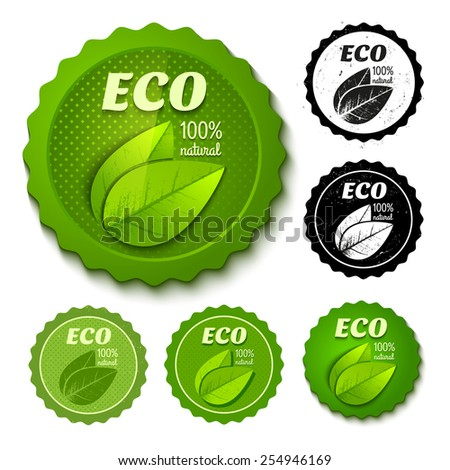 Vector set of new and retro eco stamps - stock vector