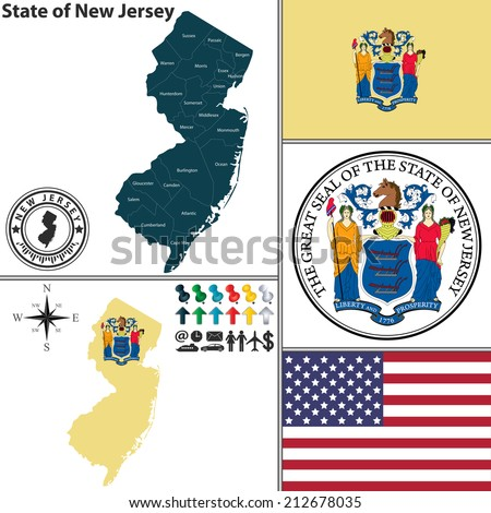Vector set of New Jersey state with flag and icons on white background