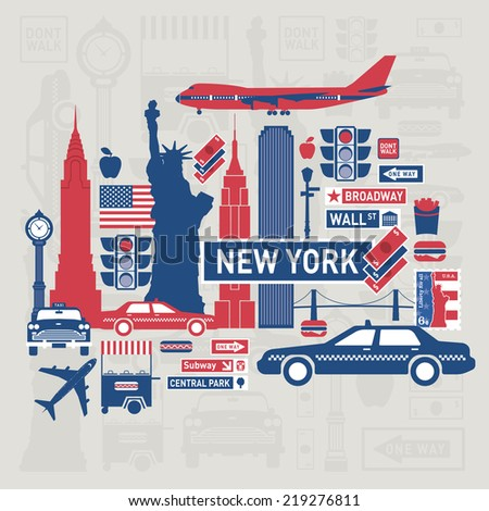 Vector set of New York city - stock vector