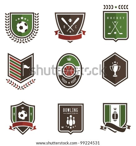 Vector set of nine colored sport emblems - stock vector