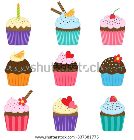 Vector set of nine different cute cupcakes  - stock vector