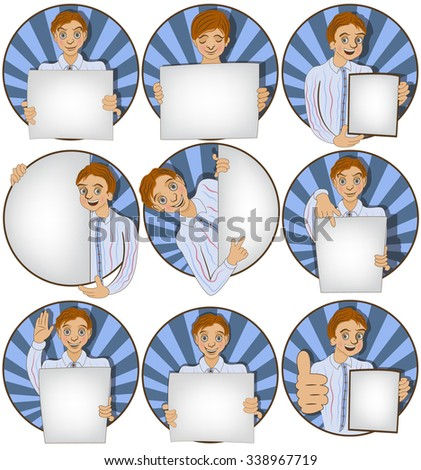Vector set of nine different young man with a banner rounded illustrations. - stock vector