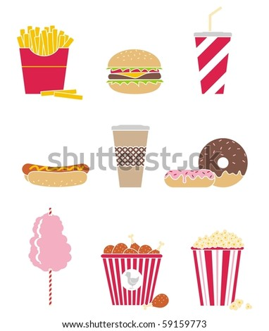 Vector set of nine icons fast food - stock vector