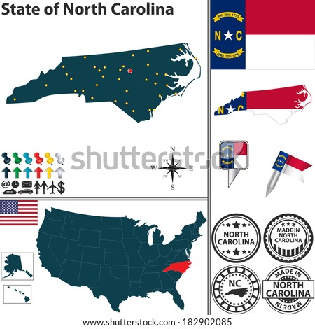 Vector set of North Carolina state with flag and icons on white background - stock vector