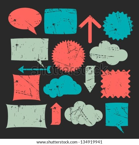 vector set of notes,arrows,memos etc. - stock vector