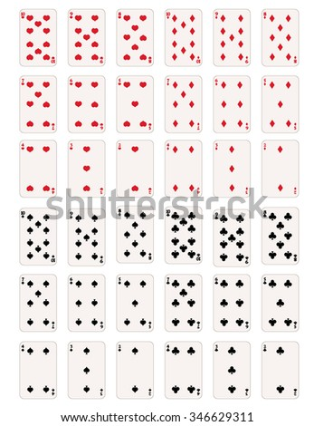 Vector Set of Numbers and Figures Playing Cards