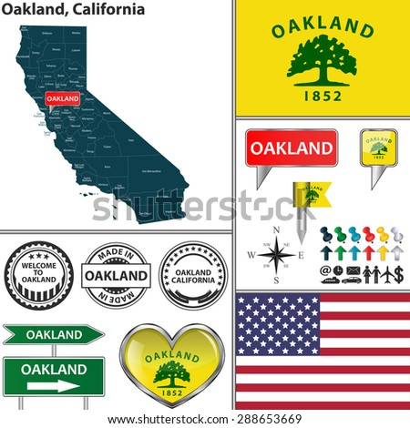 Vector set of Oakland, California in USA with flag and icons on white background - stock vector