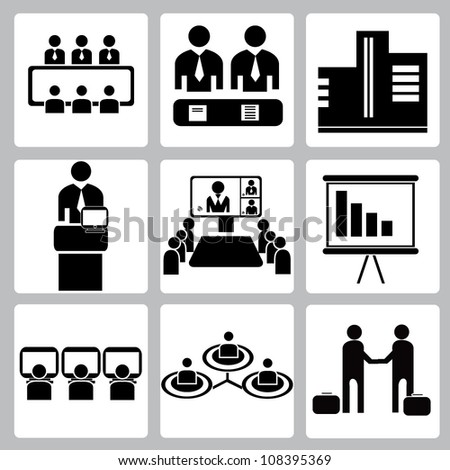 vector set of office, organization management, conference icon set - stock vector