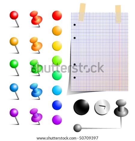 Vector set of office pins - stock vector