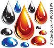Vector set of Oil and Water drops - stock photo