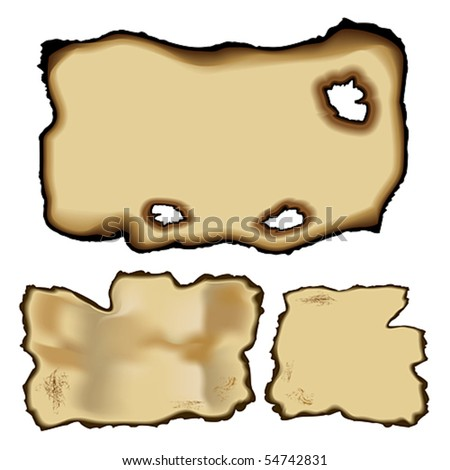 Vector set of old torn paper with burnt edge effect. JPG and TIFF image versions of this vector illustration are also available in my portfolio. - stock vector