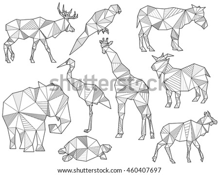 Vector Set Of Origami Animal Silhouettes Elk Parrot Horse Ground Squirrel
