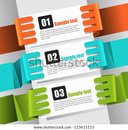 Vector set of origami paper hand banners. - stock vector