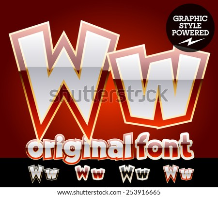Vector set of original glossy white alphabet with gold border. Letter W - stock vector