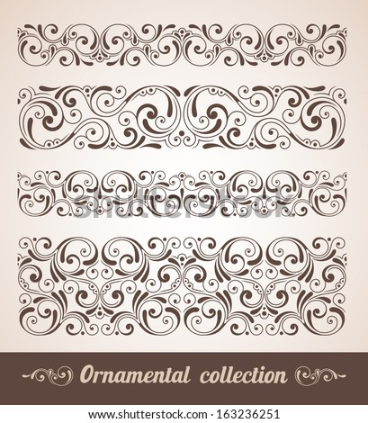 Vector set of ornamental elements. Seamless pattern for frames and borders - stock vector