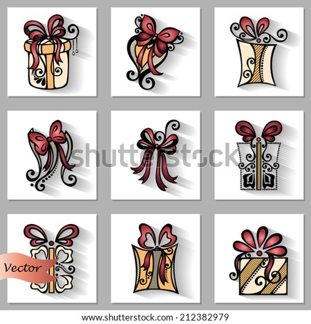 Vector Set of Ornamental Holiday Gift with Long Shadow, Patterned design - stock vector