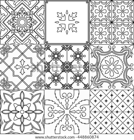 Vector Set Ornamented Tiles Black Stock Vector Royalty Free - Black and white talavera tile
