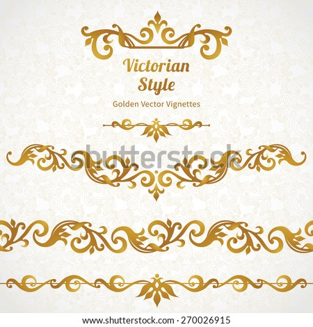 Vector set of ornate borders and vignettes in Victorian style. Gorgeous element for design. Ornamental vintage pattern for wedding invitations, birthday and greeting cards.Traditional golden decor. - stock vector