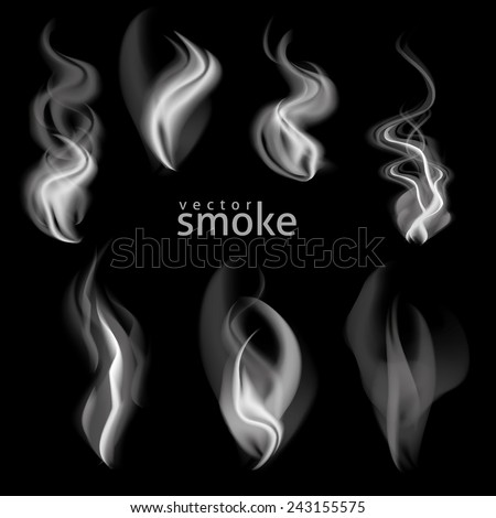 vector set of ornate design element smoke - stock vector