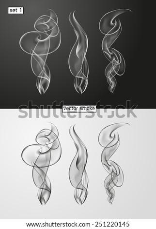vector set of ornate design element smoke - stock vector