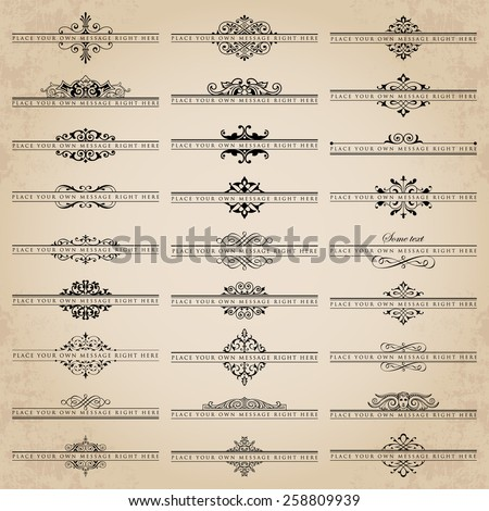 Vector set of 27 ornate headpieces - stock vector