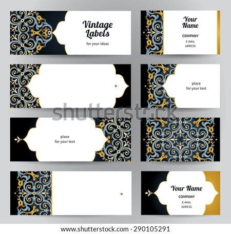 Vector set of ornate horizontal cards in oriental style. Bright Eastern floral decor on dark backdrop. Template vintage frame for greeting card, business card. Labels and tags with place for text. - stock vector