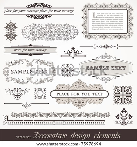 Vector set of ornate page decor elements: borders, banner, dividers, ornaments and patterns - stock vector