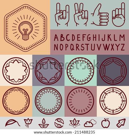 Vector set of outline design elements - graphic design set for emblems and badges - stock vector