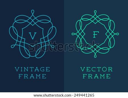 Vector set of outline emblems and badges - abstract hipster logo templates  Elegant lineart logo design elements, vector illustration - stock vector
