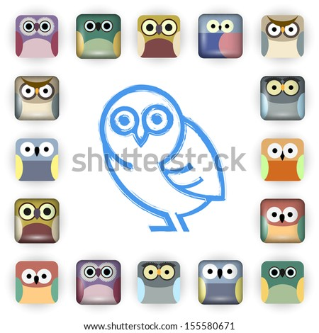 Vector set of owl icons - stock vector