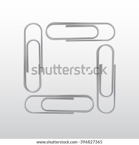 Vector Set of Paper Clips Isolated on White Background - stock vector