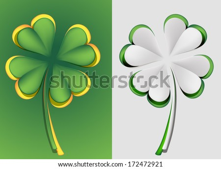 vector set of paper  four leaf clovers  - stock vector
