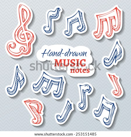 Vector set of paper music stickers. Paper hand-drawn pen treble clef and music notes with shadow. - stock vector
