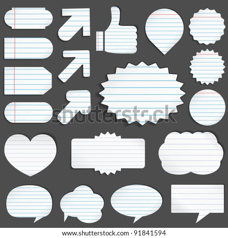 Vector set of paper objects