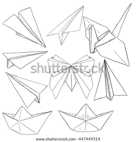 Vector Set Of Paper Objects Plane Boat Butterfly Crane Traditional Origami