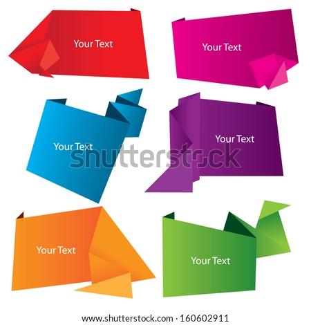 Vector set of paper speech bubble - stock vector
