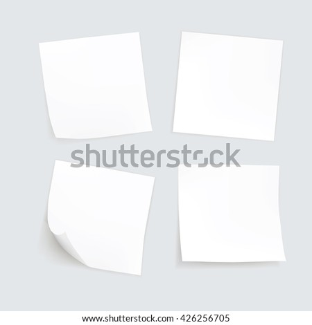 Vector Set of Paper Sticker Sticky Note Post Memo Label Isolated  - stock vector