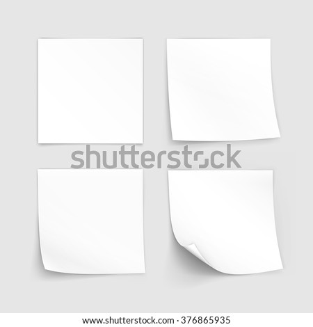 Vector Set of Paper Sticker Sticky Note Post Memo Label Isolated on White Background - stock vector