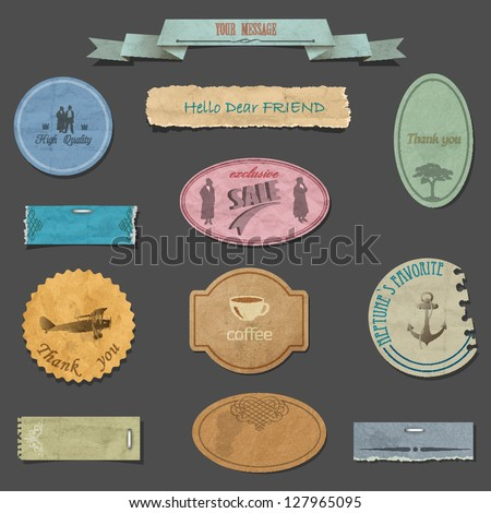Vector set of paper vintage design elements - stock vector