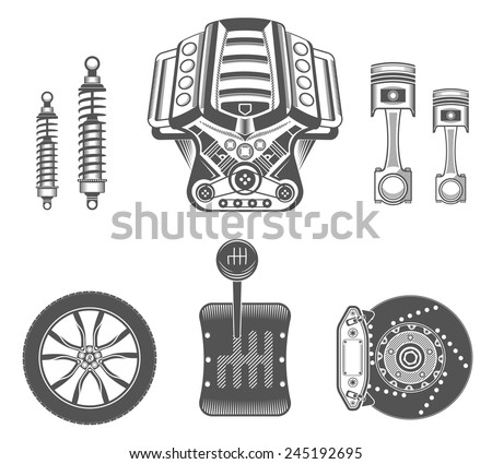Vector set of parts of the machine. Engine, gearbox, shock absorber, wheel, brake pads, piston. - stock vector