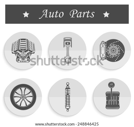 Vector set of parts of the machine. Engine, gearbox, shock absorber, wheel, brake pads, piston - stock vector