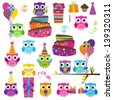 Vector Set of Party or Birthday Themed Owls - stock vector