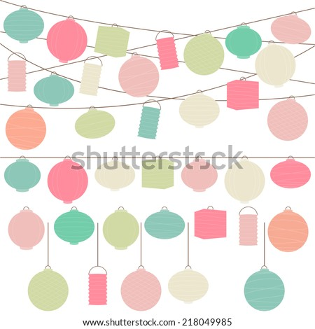 Vector Set of Pastel Colored Holiday Paper Lanterns and Lights - stock vector